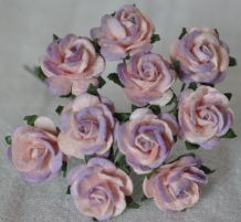 1.5cm PALE PINK LILAC Mulberry Paper Roses